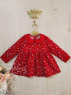 Платье трикотажное красное со звездочками и воротничком 91074П