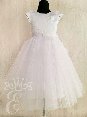 Платье нарядное белое 91076Пб