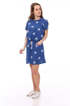 Платье Характеристики: Состав- 35% хлопок, 65% п/э; Материал: кулирка Легкое летнее платье, с кармашками. По талии идет фиксирующий шнурок!