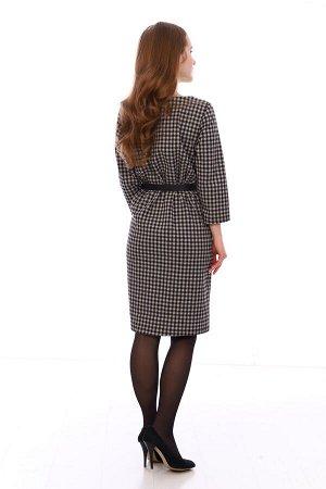 Платье Состав: 40% хлопок, 55% п/э, 5% лайкра Стильное платье, в деловом стиле! Его можно подпоясатьремешком, надеть каблучки и будет деловой, но модный образ. Ремень в комплект не входит!
