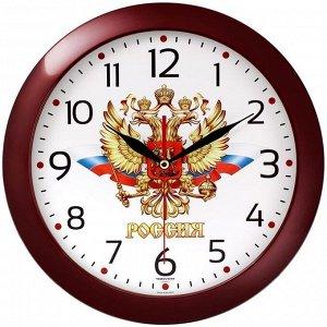 Часы настенные ход плавный, Troyka 11131176, круглые, 29*29*3,5, бордовая рамка