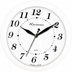 """Часы настенные ход плавный, Камелия """"Классика в белом"""", круглые, 29*29*3,5, белая рамка"""