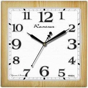 """Часы настенные ход плавный, Камелия """"Сосна светлая"""", квадратные, 29*29*3,5, св-корич. рамка"""