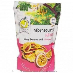 Банановые снеки с джемом из маракуи (CRISPY BANANA WITH PASSION FRUIT), 45 гр.