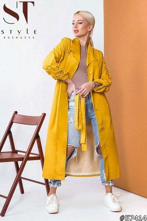 Плащ 57414 Артикул: 57414; Материал: Плащевка+подклада; Цвет: Желтый; Размер на фото: S; Параметры модели: 89-58-87; Рост модели: 164 Суперстильный плащ– необходимый предмет женского арсенала для дем