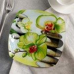 Тарелка десертная Доляна «Зелёная орхидея», d=20 см
