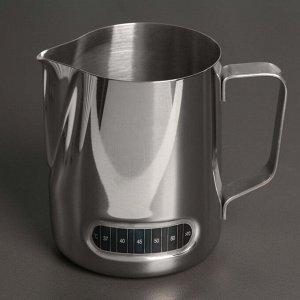 Молочник-питчер 600 мл, с индикатором температуры, 304 сталь
