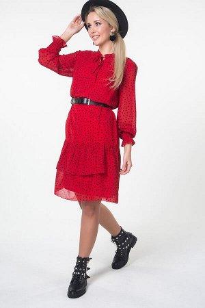 Платье Аделина №1.Цвет:красный/горох