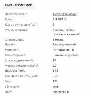 1-мес контактные линзы AIR OPTIX AQUA 6 линз
