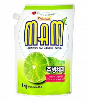 Средство для мытья посуды, овощей и фруктов Mam Lemon запасной блок 1 кг. Аромат Лайма