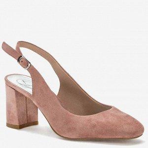 розовый иск.замша женские туфли открытые