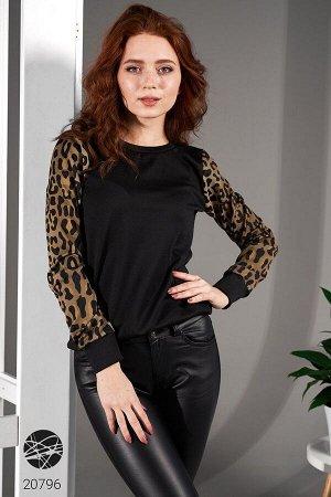 Свитшот с леопардовым принтом на рукавах