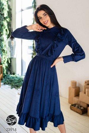 Платье миди из замша с оборками