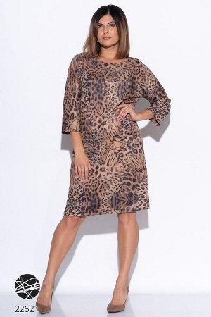 Платье из замша с леопардовым принтом