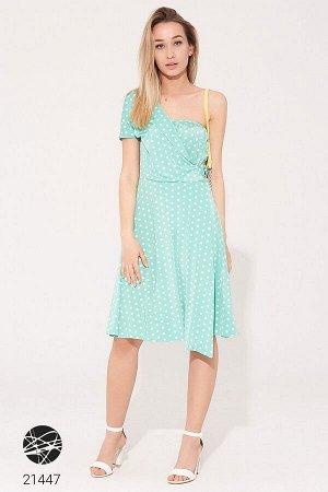 Платье на одно плечо с принтом в горошек