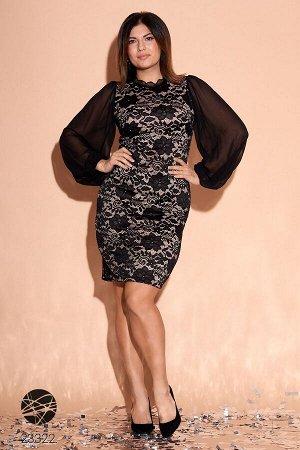 Платье из гипюра с объёмными рукавами