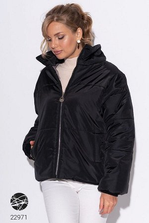Дутая oversize-куртка с высоким воротом