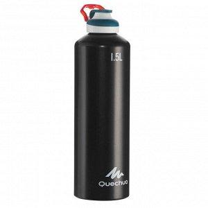 фляга алюминиевая 1,5-литровая для походов с функцией быстрого открытия 500 QUECHUA