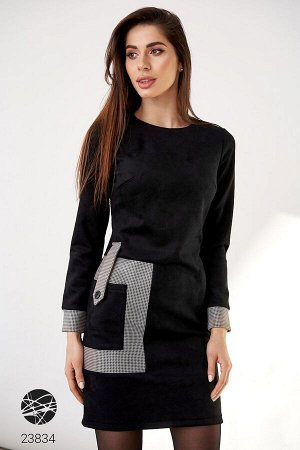 Платье из замша с накладным карманом