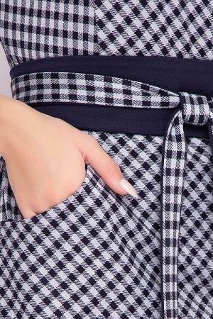 """Платье Платье из трикотажного полотна прямого силуэта с цельнокроеным рукавом. Перед платье """"по косой"""", в подрезном бочке карманы.В комплекте пояс кушак. 50% вискоза,45% п/э,5% лайкра"""