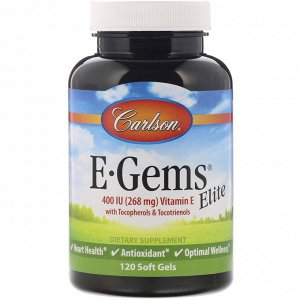 Carlson Labs, E-Gems Elite, витамин E, 268 мг (400 МЕ), 120 мягких таблеток