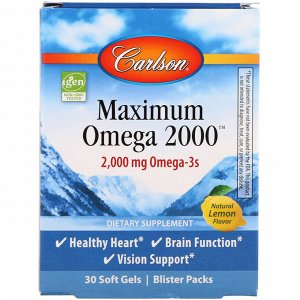 Carlson Labs, Maximum Omega 2000, Natural Lemon Flavor, 2,000 mg, 30 Softgels