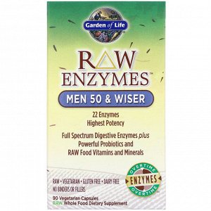 Garden of Life, RAW Enzymes, Men 50 & Wiser, 90 Vegetarian Capsules