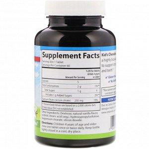 Carlson Labs, Жевательные таблетки с кальцием для детей, с натуральным ванильным вкусом, 250 мг, 60 таблеток