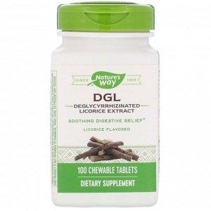 Nature&#x27 - s Way, DGL, глицирризинат солодки (экстракт), ароматизатор солодки, 100 жевательных таблеток