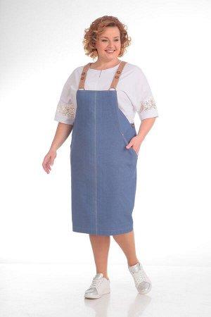 Костюм Костюм Pretty 690 синий  Рост: 164 см.  Комплект двухпредметный из блузы и сарафана. Детали: сарафан заужен к низу, со средними швами спереди и сзади, в боковых швах обработаны застежки на пет