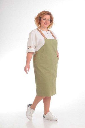 Костюм Костюм Pretty 690 олива  Рост: 164 см.  Комплект двухпредметный из блузы и сарафана. Детали: сарафан заужен к низу, со средними швами спереди и сзади, в боковых швах обработаны застежки на пет