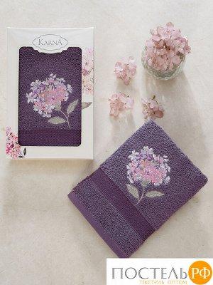 """3433 Полотенце махровое в коробке """"KARNA"""" OPAK (50x90) см  Фиолетовый"""