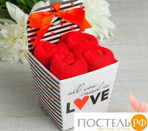 "Набор махровых полотенец ""LOVE"" 30х30 см-4шт, хлопок, 340 г/м2   4677464"