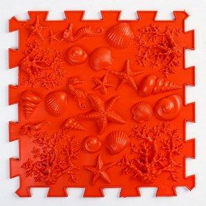"""Детский массажный коврик 1 модуль """"Морское дно"""" цвет красный"""