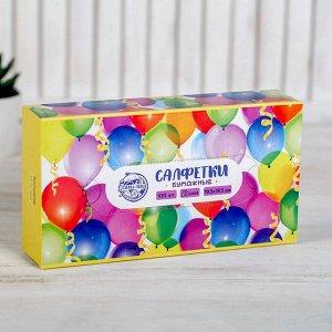 """Салфетки бумажные в коробке """"С днем рождения"""", 100 шт."""