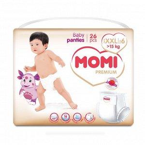 MOMI Premium подгузники-трусики XXL (от 15 кг). 26шт.