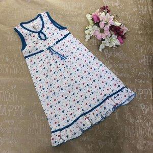 Рост 128 (детальные размеры в описании). Подростковая ночная сорочка Apple_Night с принтом и оторочкой василькового цвета.