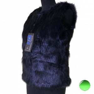 Размер 44. Модный меховой жилет Inflame на молнии иссиня-черного цвета.