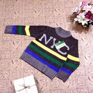 Рост 108-116. Стильная детская кофта NYC цвета хаки с белыми переходами.
