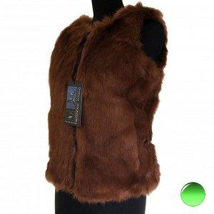 Размер 48. Модный меховой жилет Inflame на молнии цвета каштана.