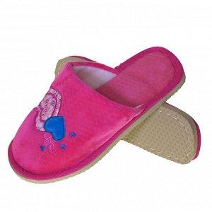 """Модель маломерит, смотрите описание. Размер 36-37. ?Уютные женские тапочки Hearts с вышивкой """"сердечки"""" ярко-розового цвета."""