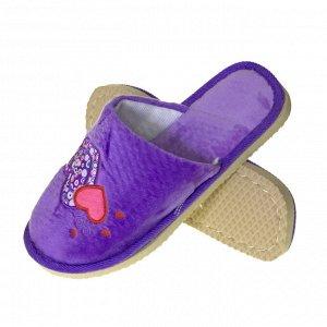 """Модель маломерит, смотрите описание. Размер 36-37. ?Уютные женские тапочки Hearts с вышивкой """"сердечки"""" аметистового цвета."""