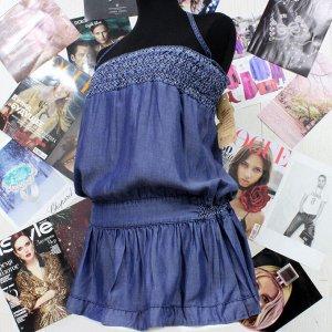 Размер 42-44. Туника-платье из облегченной джинсовой ткани.
