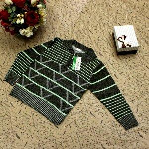Рост 112-120. Стильная детская кофта Falcon травянистого цвета с белыми переходами.