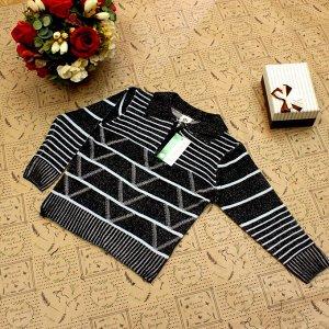 Рост 124-132. Стильная детская кофта Falcon черного цвета с белыми переходами.