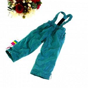 Рост 94-98. Утепленные детские штаны на подтяжках с подкладкой из войлока Federlix цвета морской волны.