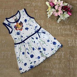 Рост 128 (модель маломерит, см. размеры на фото). Детское домашнее платьице Verda с принтом василькового цвета.