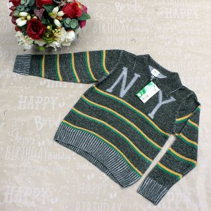 Рост 122-130. Стильная детская кофта NeY травянистого цвета с белыми переходами.