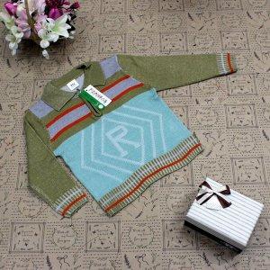 Рост 110-118. Стильная детская кофта Relevise цвета хаки с белыми переходами.