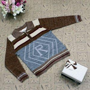 Рост 118-126. Стильная детская кофта Relevise коричневого цвета с белыми переходами.